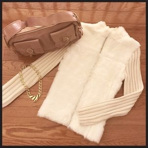 Free People faux fur sweater in ivory size small